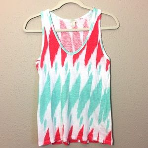 J. Crew Factory Coral and Mint Tank